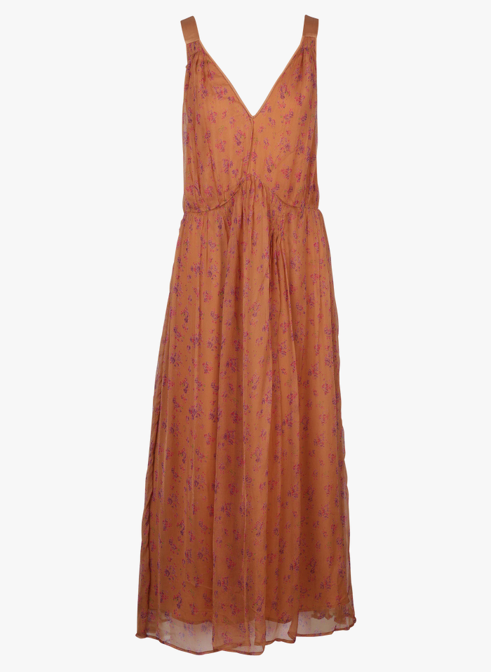 MES DEMOISELLES Orange Long V-neck voile dress with print