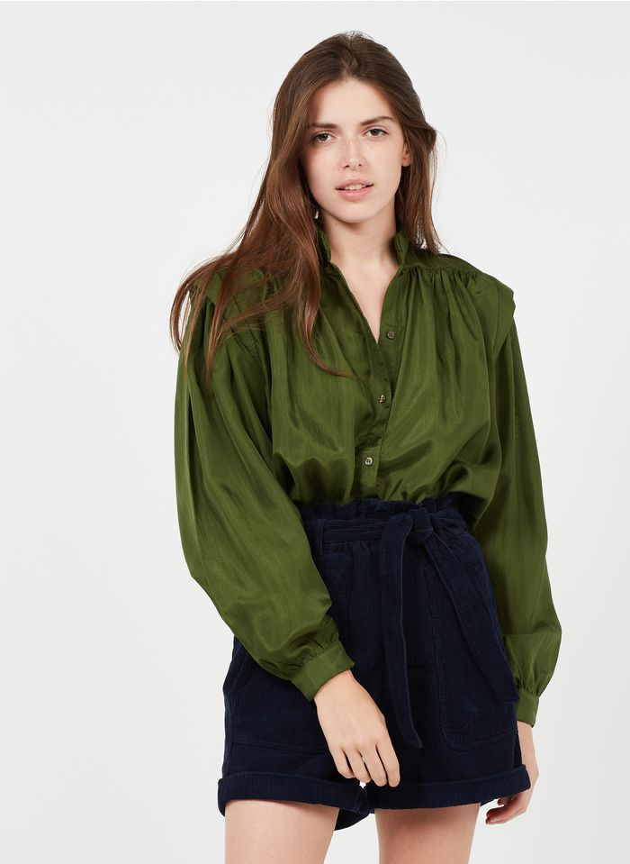 MES DEMOISELLES Green Mandarin-collar silk shirt