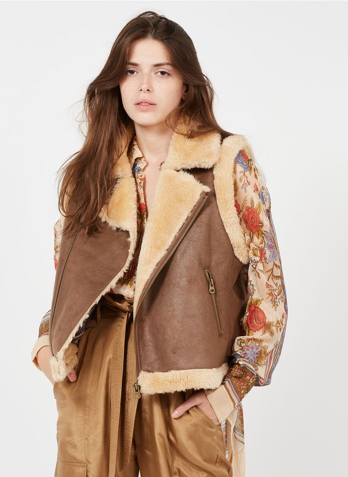 MES DEMOISELLES Brown Short embroidered sleeveless jacket with classic collar