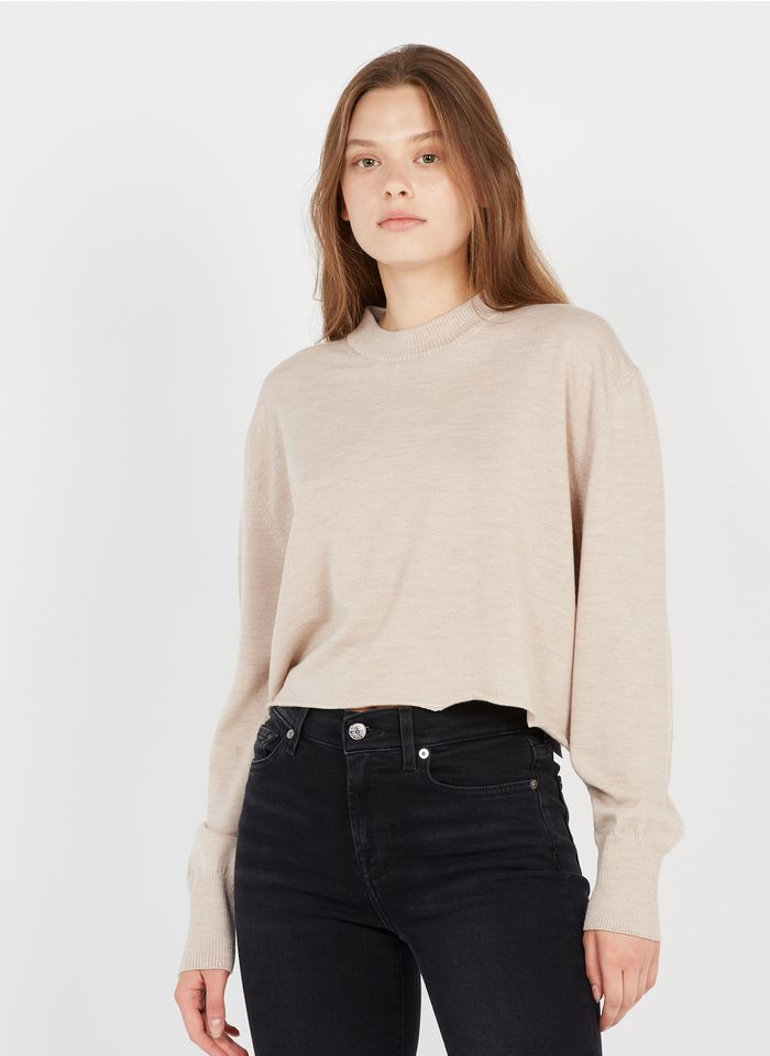 MM6 MAISON MARGIELA Beige Cropped round-neck wool sweater
