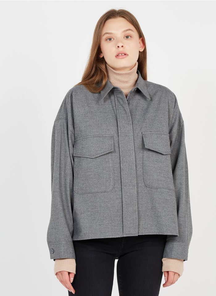 MM6 MAISON MARGIELA Grey Oversized flannel overshirt with classic collar