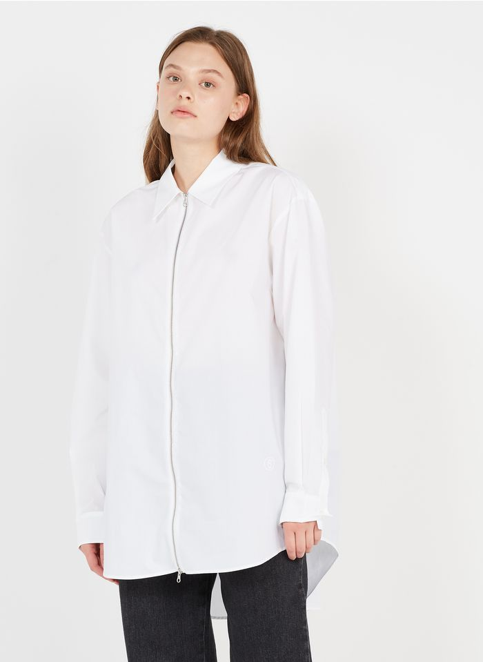 MM6 MAISON MARGIELA White Oversized zip-up cotton shirt with classic collar