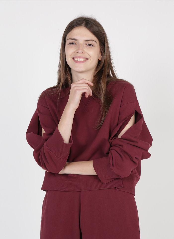 MM6 MAISON MARGIELA Red Round-neck cotton sweatshirt with destroyed details