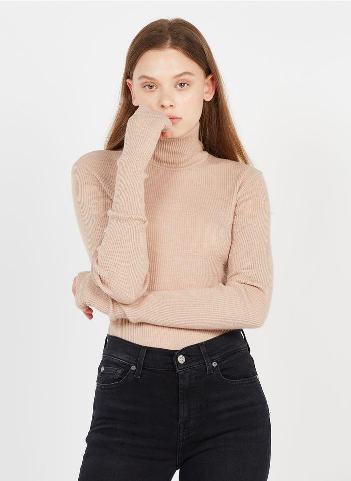 MM6 MAISON MARGIELA Beige Wool-blend turtleneck sweater