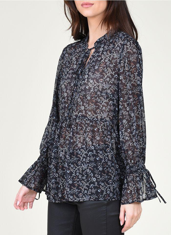 MOLLY BRACKEN Black Round-neck floral print top