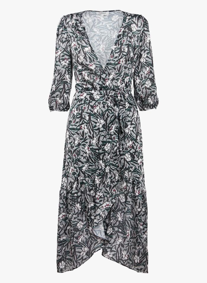 MORGAN Multicolored Floral print midi wrap dress