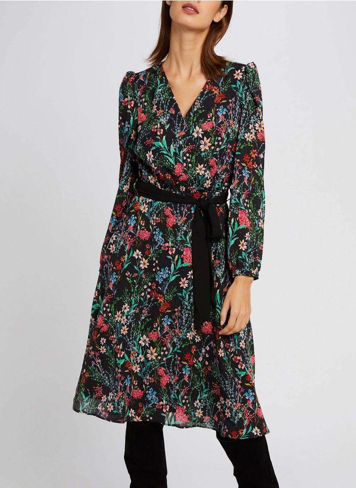 MORGAN Multicolored Floral print V-neck midi dress