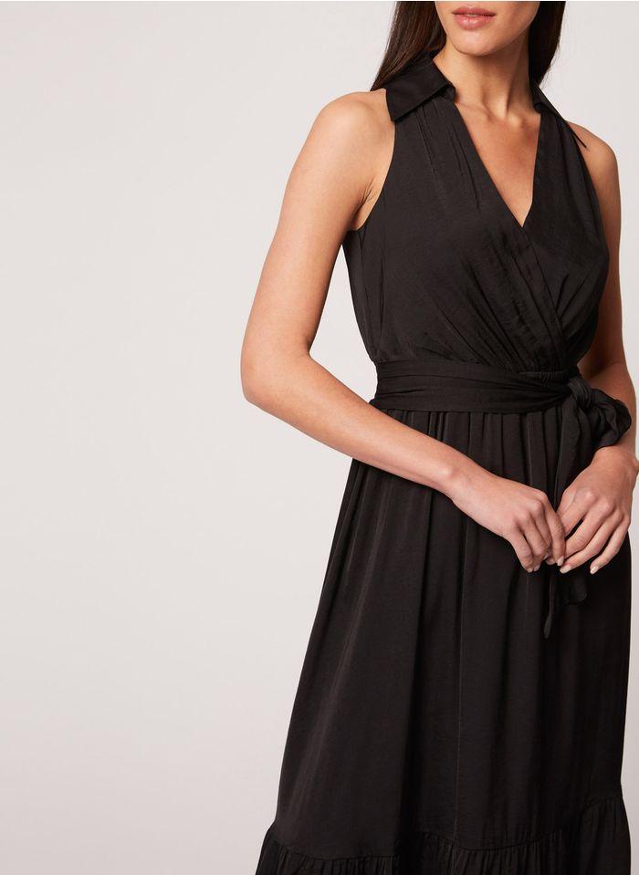 MORGAN Black Long dress with classic collar