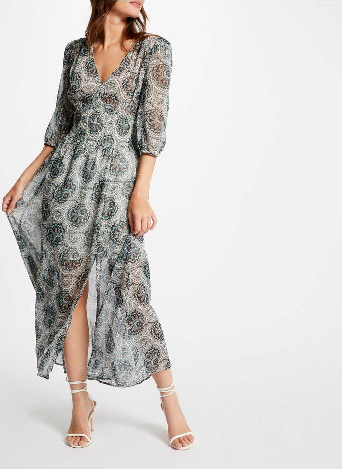 MORGAN Multicolored Long printed V-neck dress