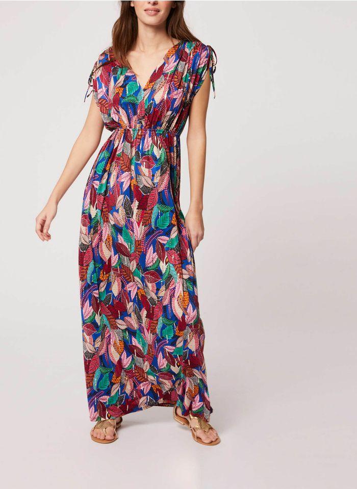 MORGAN Blue Printed V-neck midi dress