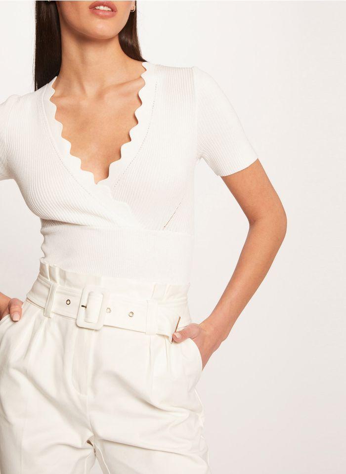 MORGAN White Scalloped V-neck knit sweater