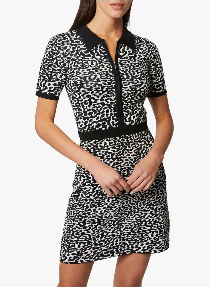 MORGAN Black Short animal print knit dress with classic collar