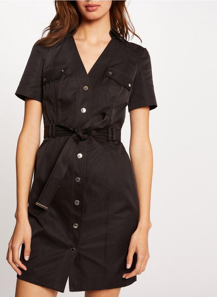 MORGAN Black Short buttoned and belted V-neck dress