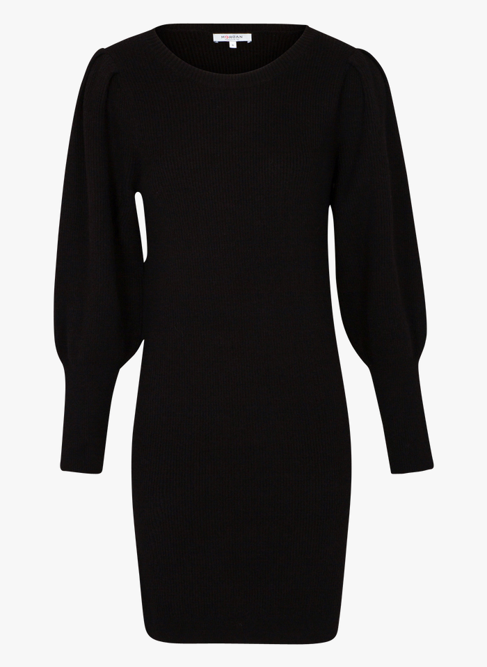 MORGAN Black Short round-neck knit dress