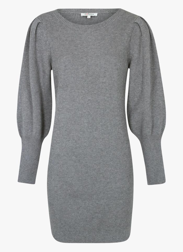 MORGAN Grey Short round-neck knit dress