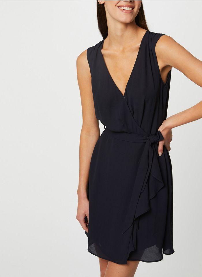 MORGAN Blue Short wrap dress with ruffles