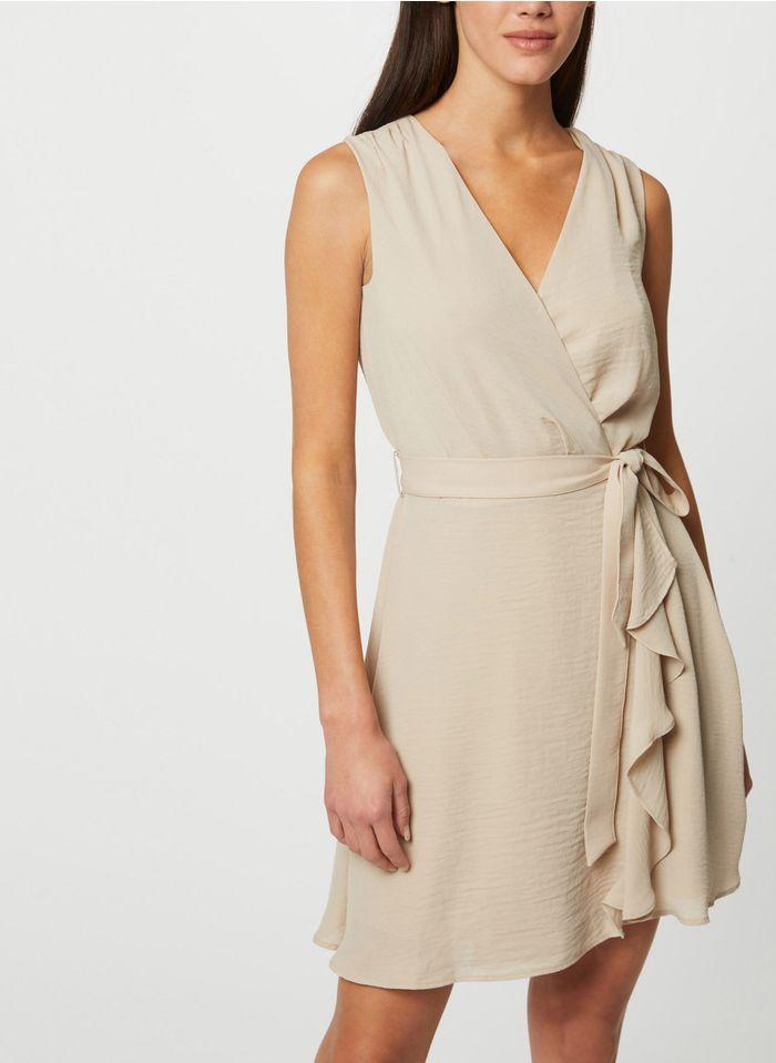 MORGAN Pink Short wrap dress with ruffles