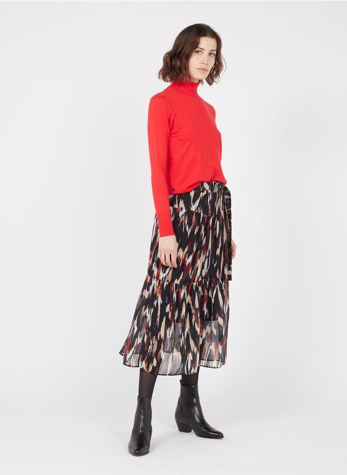 ONE STEP Blue Flounced printed midi skirt