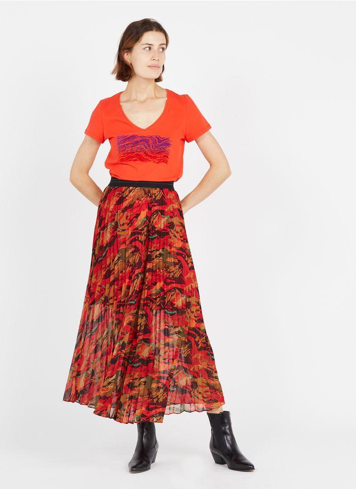 ONE STEP Red Printed pleated midi skirt