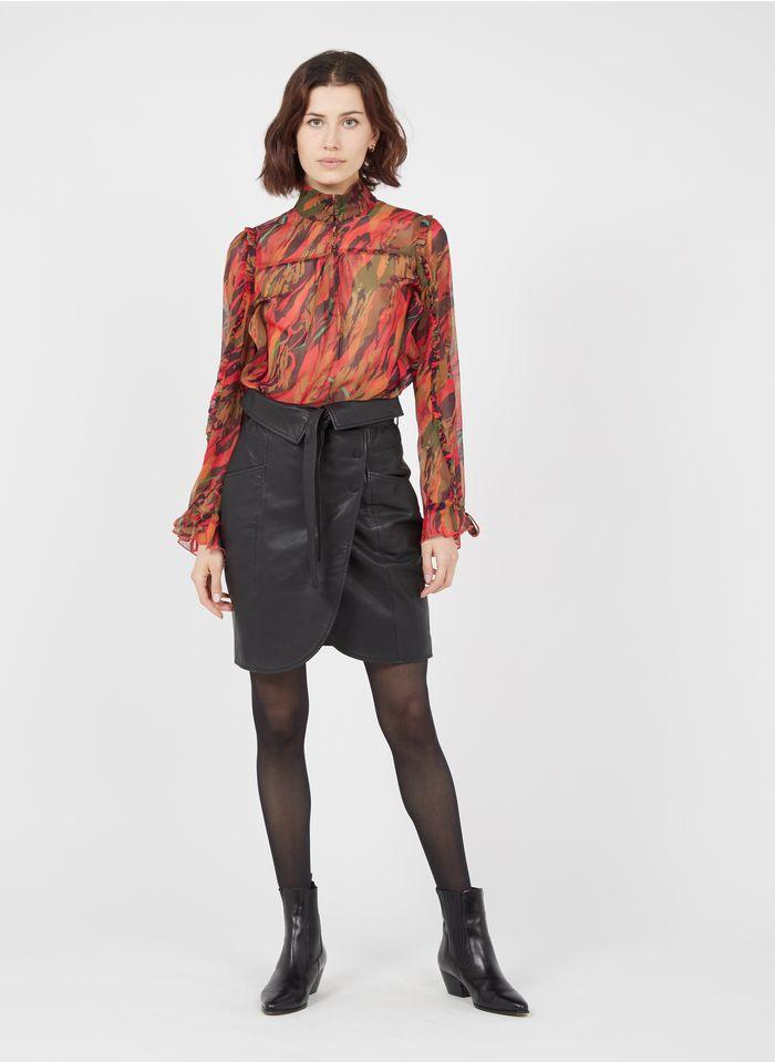 ONE STEP Black Short belted wrap skirt