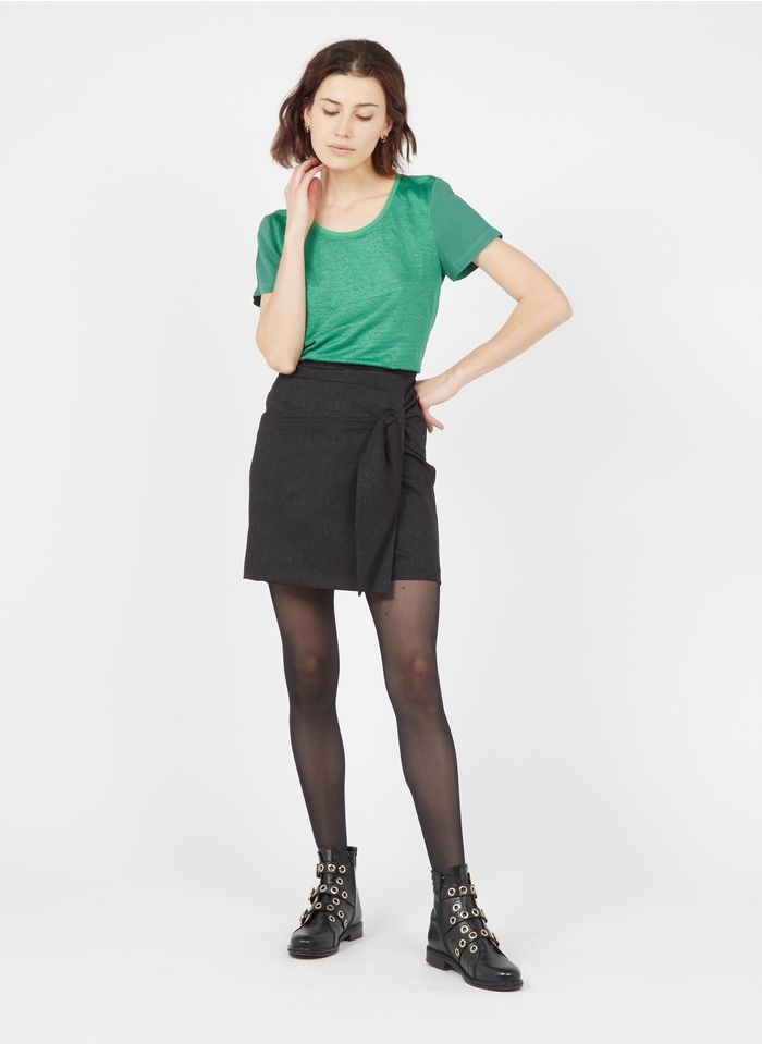 ONE STEP Black Short check print skirt with bow details