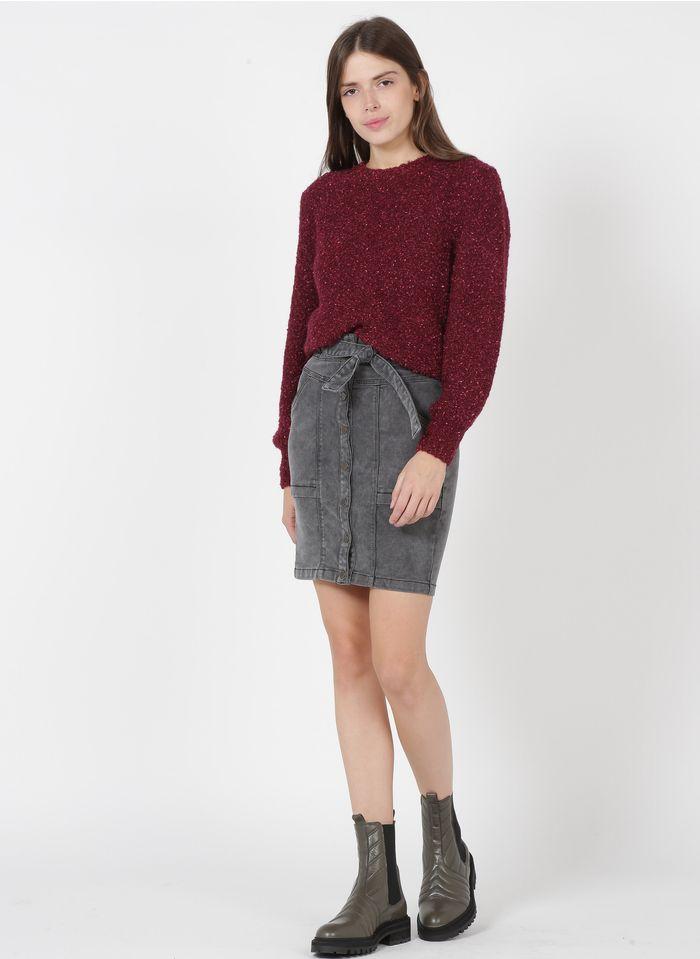 ONE STEP Grey Short denim skirt
