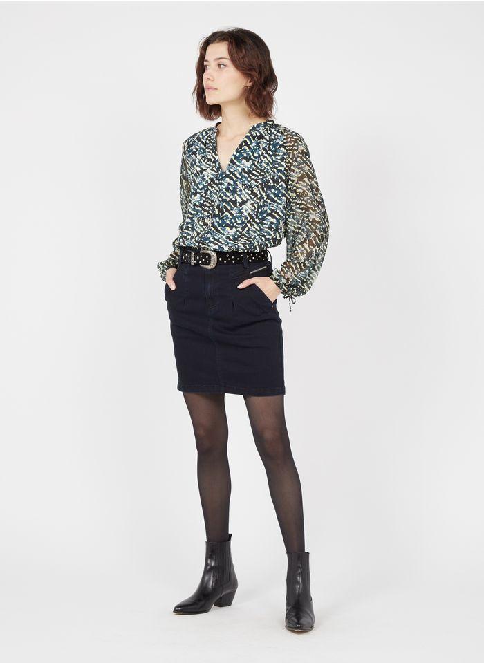 ONE STEP Blue Short raw denim skirt with zip details