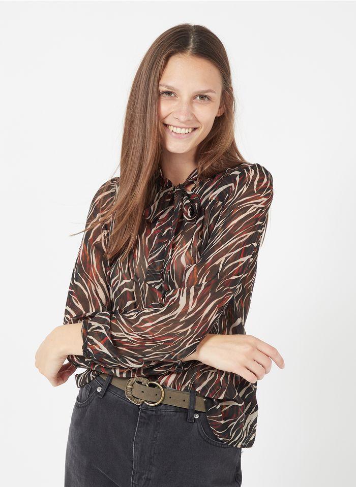IKKS Black Zebra print top with pussy-bow collar