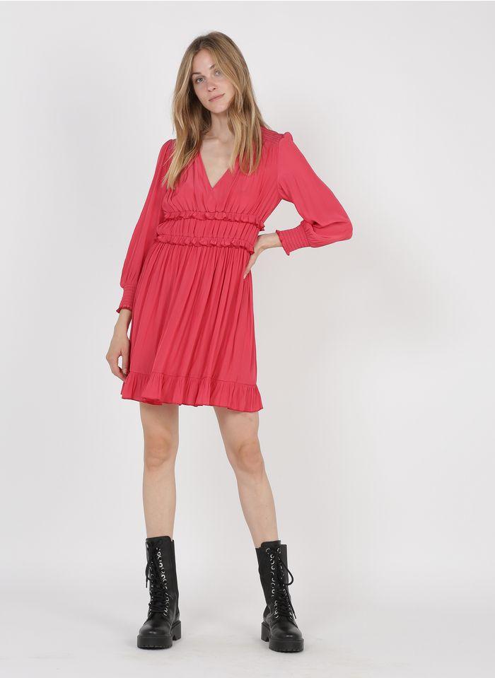 PABLO Pink Short ruffled V-neck dress