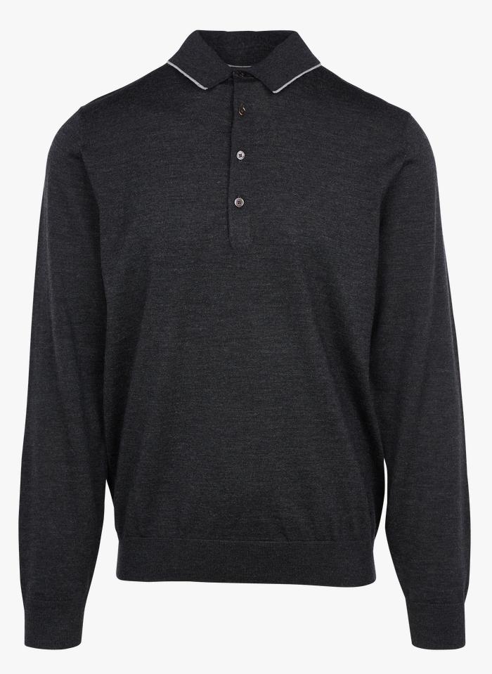 PAUL SMITH Black Merino wool sweater with polo collar