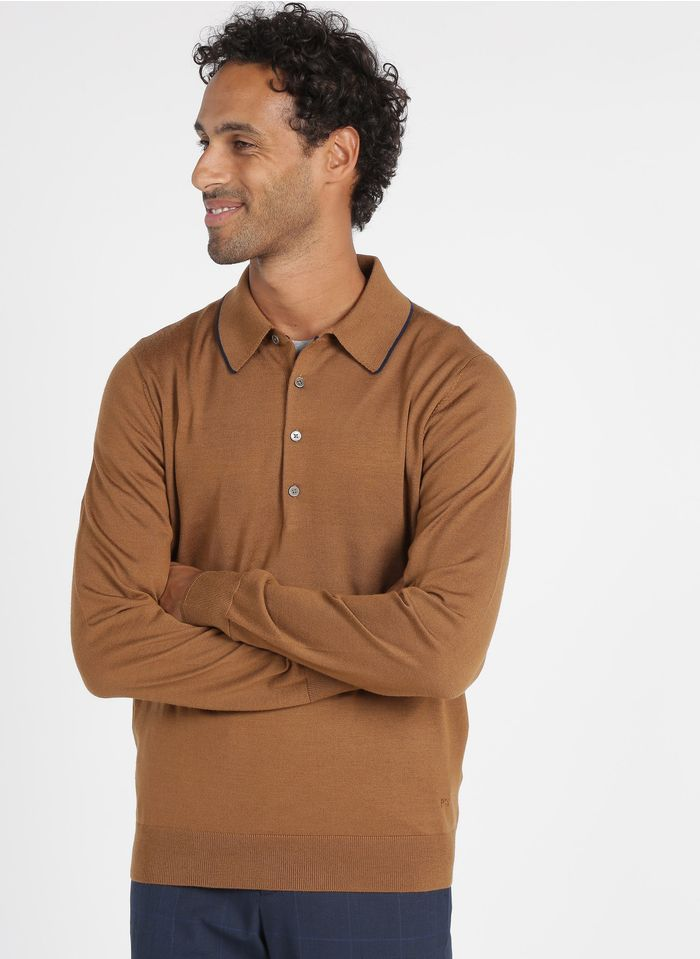 PAUL SMITH Brown Regular-fit wool sweater with polo collar