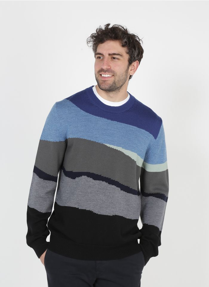 PAUL SMITH Blue Round-neck regular-fit wool and cotton sweater with stripes