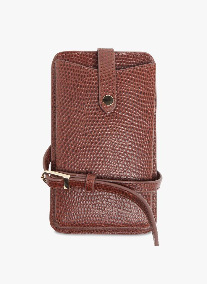 PETITE MENDIGOTE Brown Snakeskin-effect leather phone bag