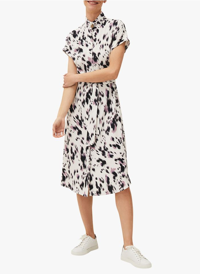 PHASE EIGHT White Belted printed dress with classic collar