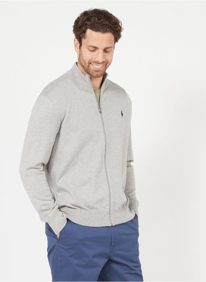 POLO RALPH LAUREN Grey Regular-fit zip-up cotton cardigan with high neck