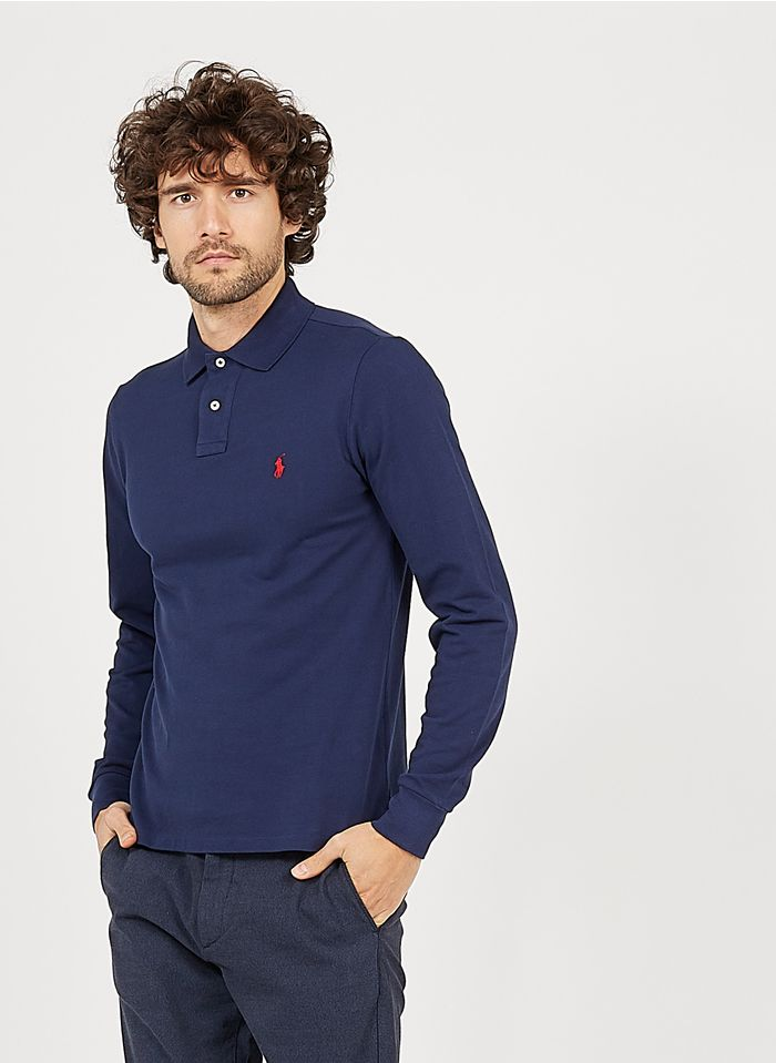 POLO RALPH LAUREN Blue Slim-fit cotton polo shirt with classic collar