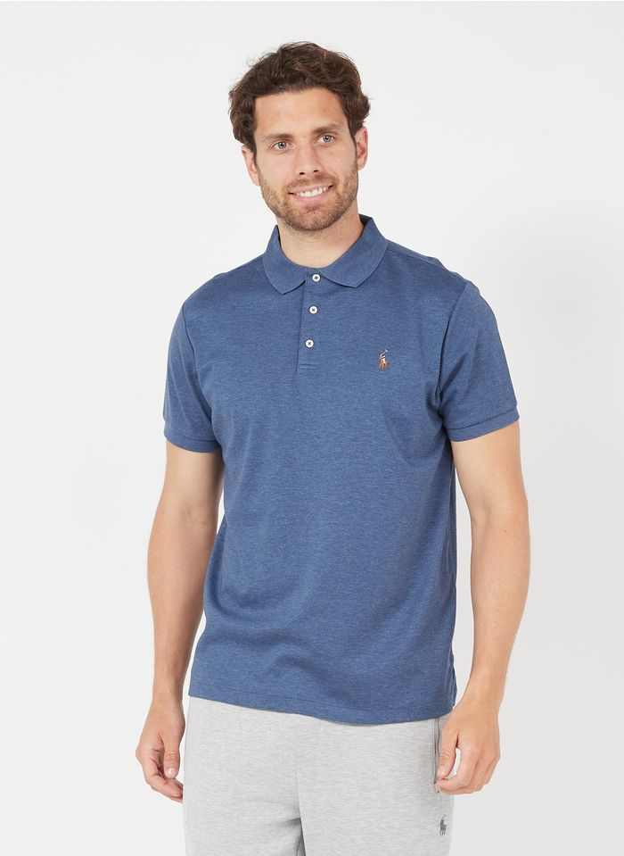 POLO RALPH LAUREN Blue Slim-fit embroidered cotton polo shirt with classic collar