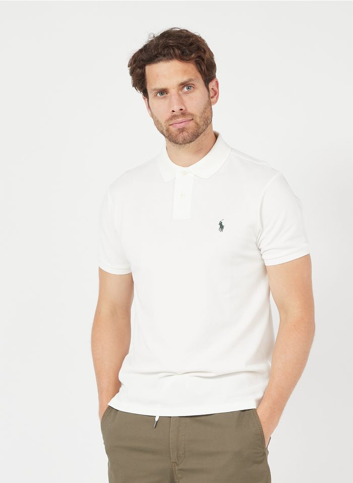 POLO RALPH LAUREN White Slim-fit piqué knit polo shirt with embroidered logo