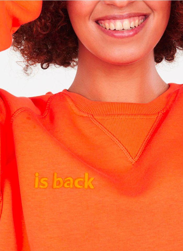 RASUREL Orange Embroidered organic cotton-blend sweatshirt with round neck
