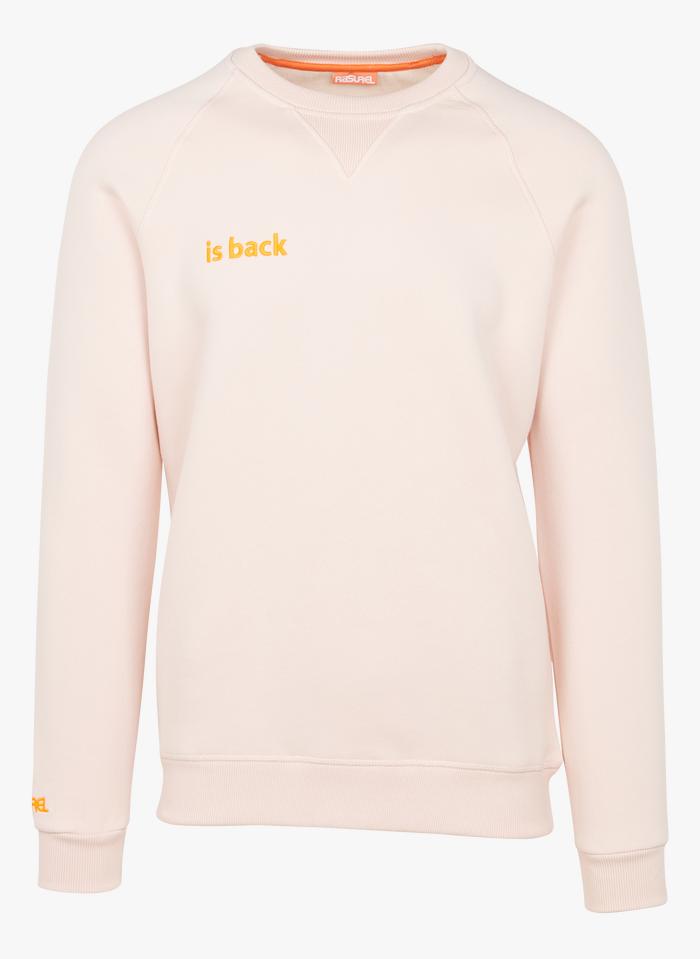 RASUREL Pink Embroidered organic cotton-blend sweatshirt with round neck
