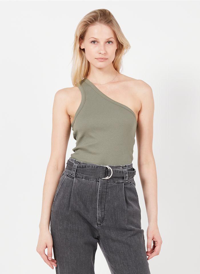 REIKO Khaki Asymmetric cotton-blend top