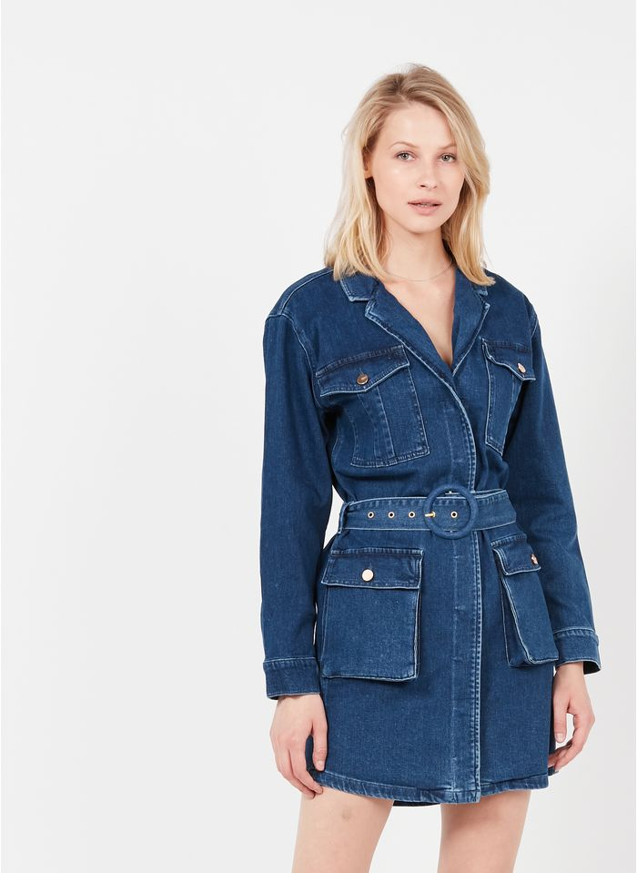 REIKO Blue Belted denim jacket with tailored collar