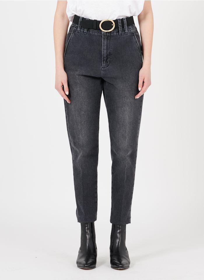 REIKO Grey Cigarette-cut straight organic cotton-blend jeans