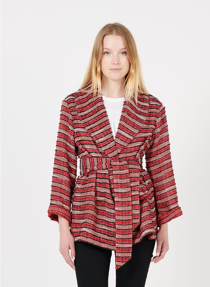 REIKO Red Embroidered jacket with shawl collar