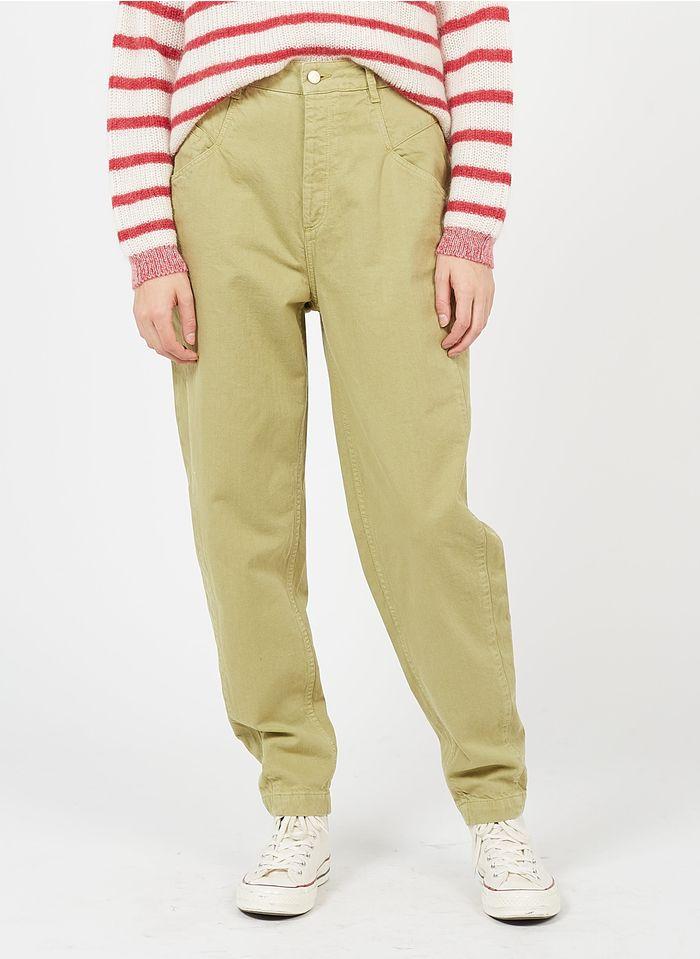 REIKO Khaki High-rise organic cotton carrot jeans