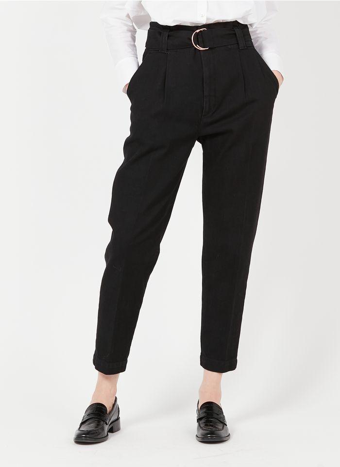 REIKO Black High-waisted paperbag pants