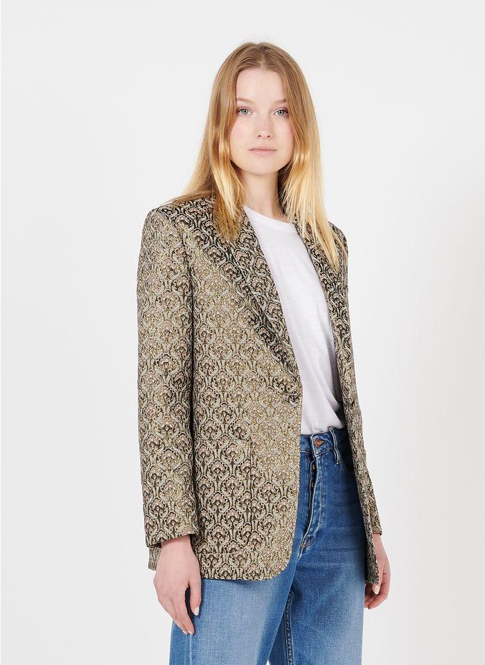 REIKO Beige Jacquard jacket with shawl collar