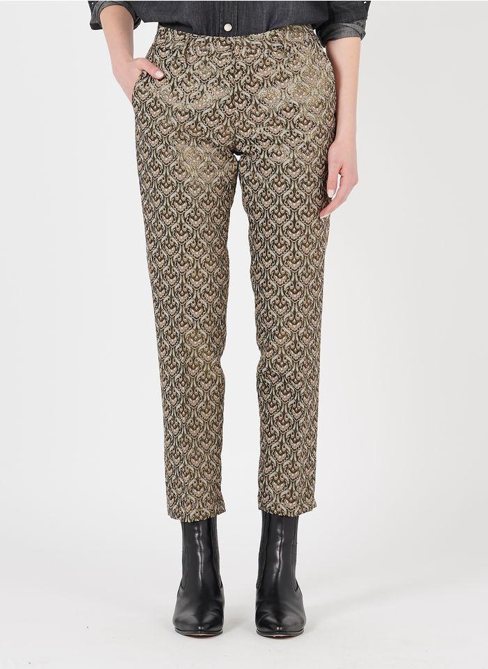 REIKO Beige Jacquard straight pants