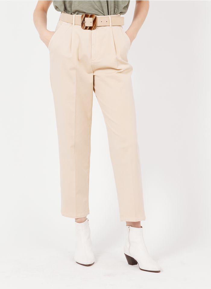 REIKO Beige Organic cotton carrot pants