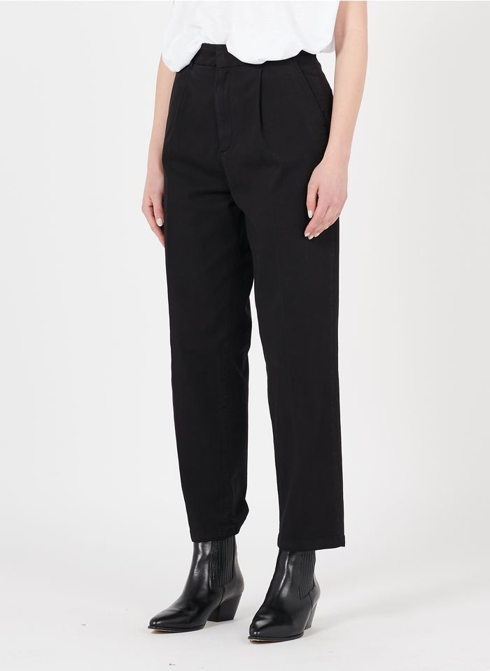 REIKO Black Organic cotton carrot pants